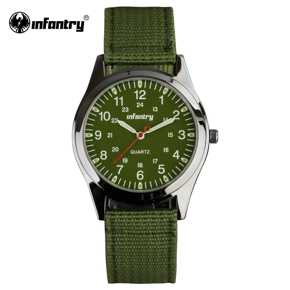 INFANTRY Watch Mens Quartz Wristwatches Luminous Military Green Fabric Watchband Sports Watches for Men Relogio Masculino(Hong Kong)