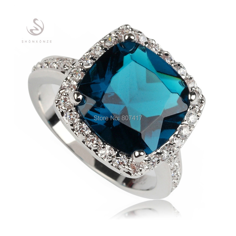 Recommend First class products fashion Dark blue Cubic Zirconia Promotion Silver Plated Best Sellers ring 620 sz# 6 7 8 9(China (Mainland))