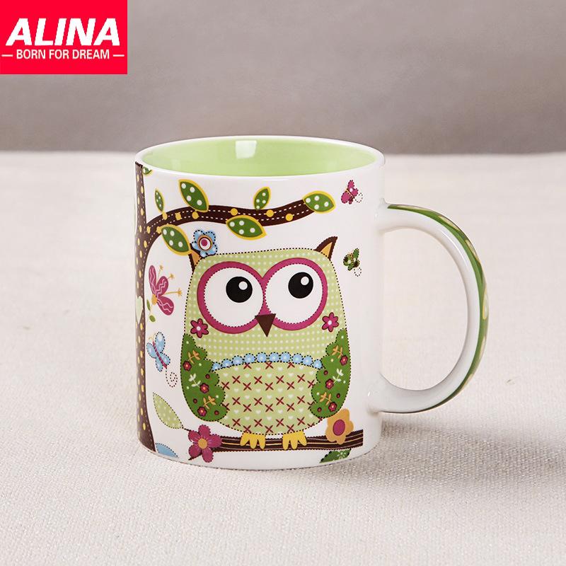 creative cute ceramic coffee mug owl print
