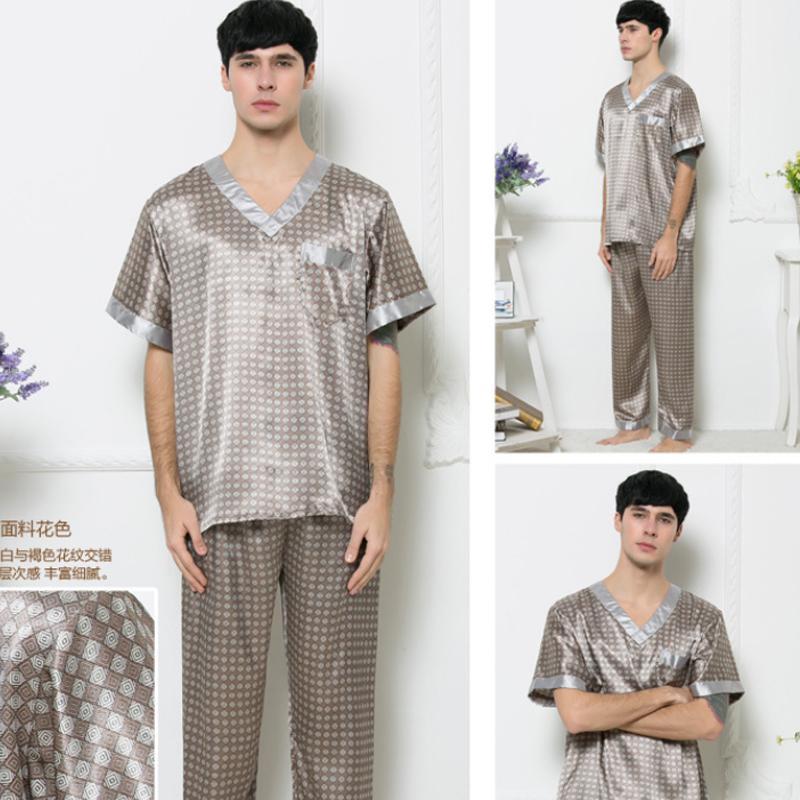 2016 Summer Men Pajama Sets Short Sleeve Casual Plaid ...