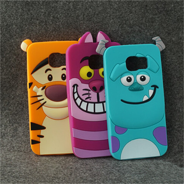 3D Monsters sulley tiger Alice cat soft silicon back cover cute Cartoon phone case for Samsung Galaxy S6 YC490(China (Mainland))