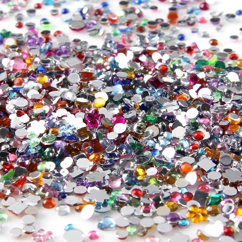 Nail Art Decoration Multi Color Mix Shaped Rhinestone Nail Glitter for UV Gel Nail Polish Manicure Accessories Pedicure Tip(China (Mainland))