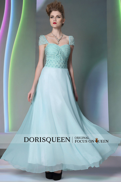 Free shipping 2015 new arrival fashion sweetheart open back DORISQUEEN light blue cap sleeve dress party evening elegant 30888