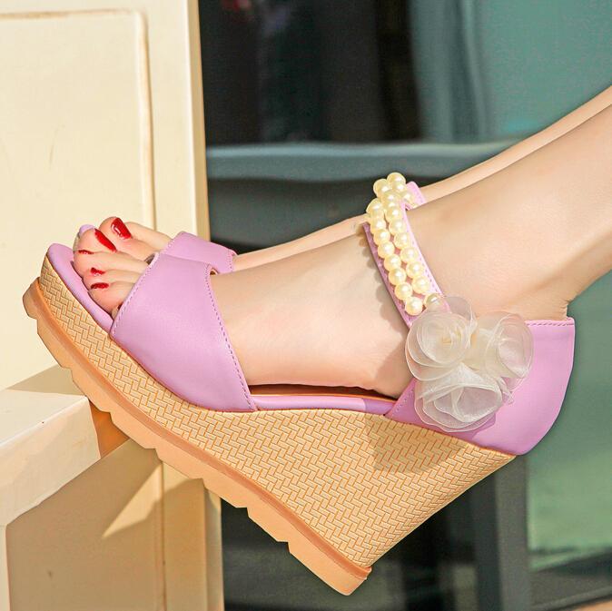 ENMAYER New Bohemia Gladiator Sandals Summer Shoes Sweet Peep Toe wedges Sandals Open Toe Platform Sandals Beads Shoes