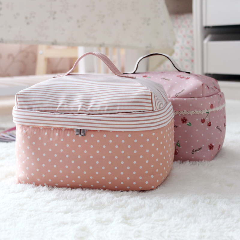 Promotion! Hot Cute Double Zipper Striped Cosmetic Box Makeup Bag Make Storage Organizer Case Hand Clutch - Fashion Store1008 store
