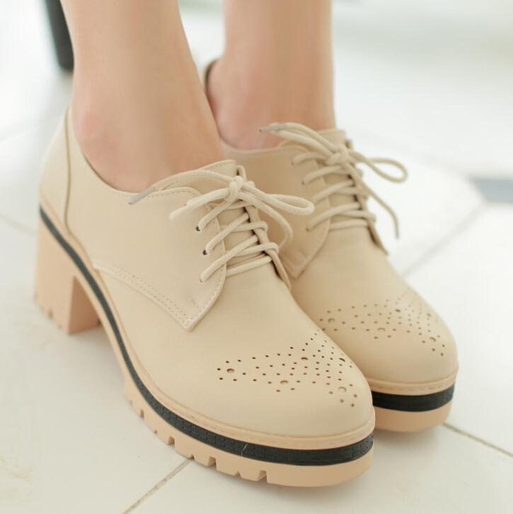 ENMAYER New Women Pumps Vintage Lace Up High-heeled Shoes Fashion Breathable Uppers High Heels Shoes women Platform Pumps<br><br>Aliexpress