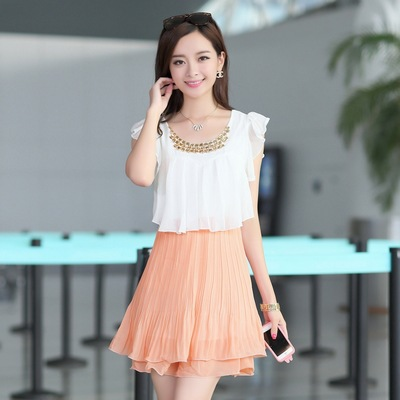 Free Shipping 2015 New Arrival Korea Fashion Women's Chiffon Patchwork Ruffles Summer Pleated Dresses Yellow,Pink,Blue M,L,XL(China (Mainland))