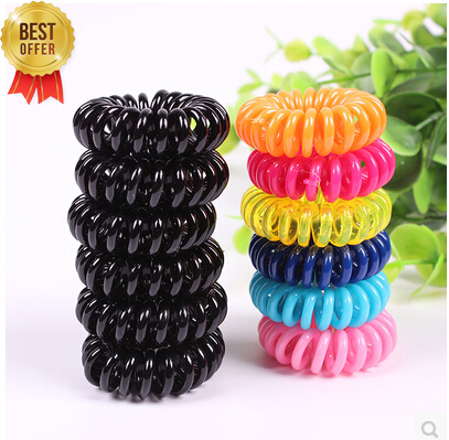 Candy colored telephone line hair ring,Hair Accessories ,hair rope, spring rubber band, mix 5pcs/lot(China (Mainland))