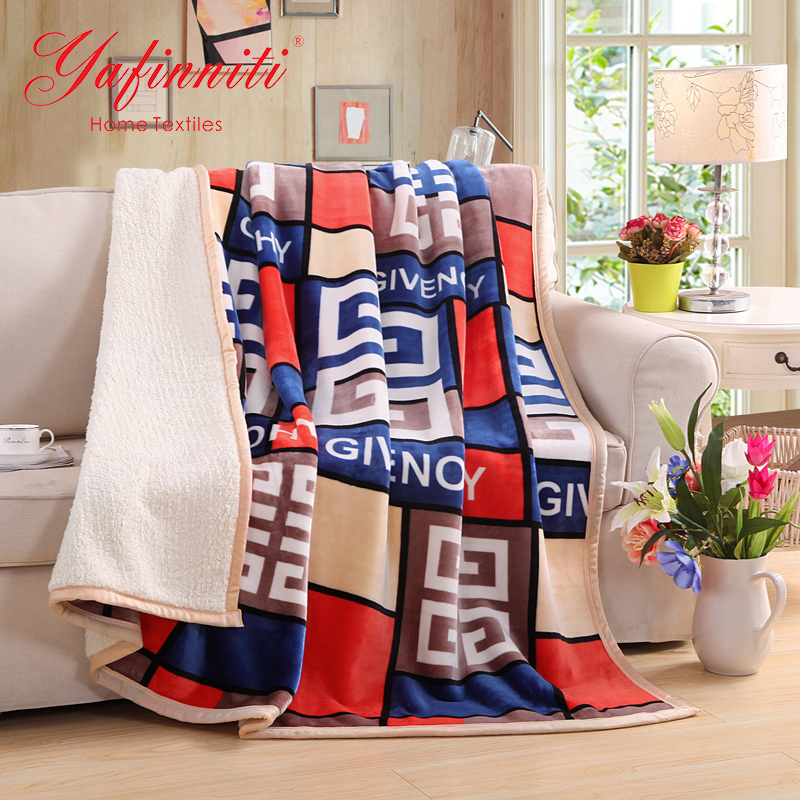 Yafinniti 2 Layers Lamb blanket Sided Blanket For Sofa/Bed/Travel Soft Throw Blanket(China (Mainland))