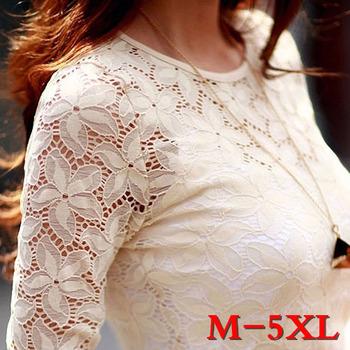 Бесплатная доставка новый 2015 весна женщины кружева рубашки мода с длинным рукавом ...