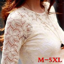 Free Shipping New 2015 Spring Women Lace shirt Fashion Long sleeve hollow blouse shirt Plus size women tops M-5XL chiffon shirt