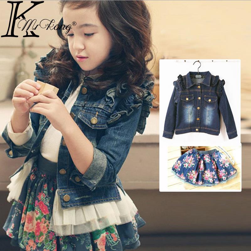 2015 Spring autumn kids girl jeans denim jacket mini skirt set roupas infantis menina Toddler children clothing - MrKong shop store