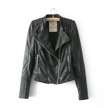 New fashion mandarin collar bomber motorcycle Leather jackets women supernova brand jaqueta couro leather coat(China (Mainland))