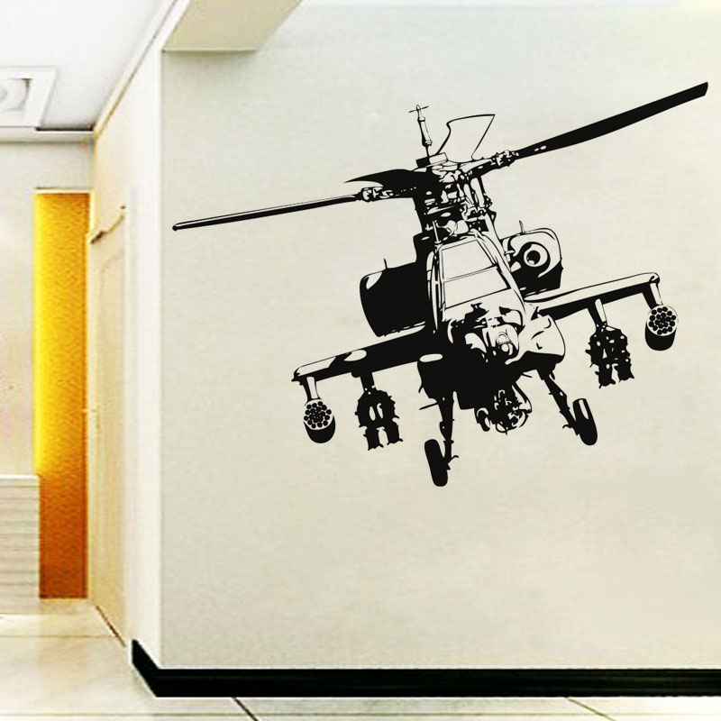 Usaf Wall Decor : Vinyl adhesive home decor military helicopter wall sticker living room hollow out design for