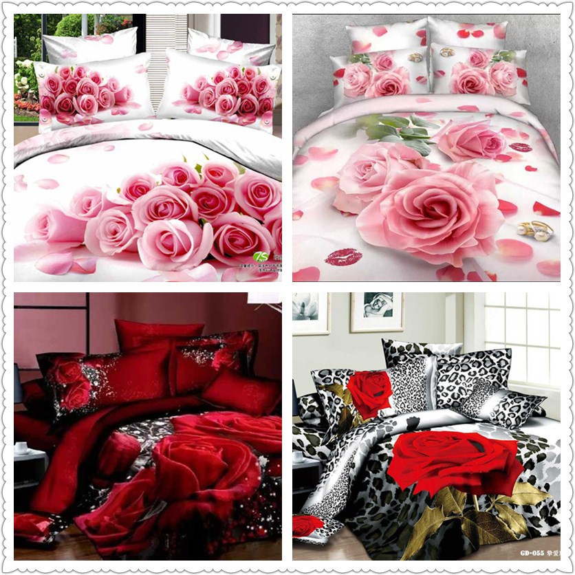 roses department store 3d bedding set red pink floral printed bedding sexy wedding decoration full queen king size duvet covers(China (Mainland))