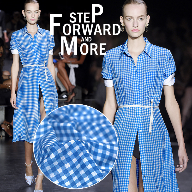 Classic blue grid cotton fabric cloth Absorb sweat micro soft delicate shirt dress cloth(China (Mainland))