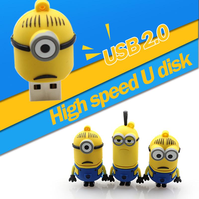 Free shipping Pen drive Minions USB Flash Drive 64G/32G/16G/8G/4G Despicable Me Pendrive 64g Memory stick U Disk flash card(China (Mainland))