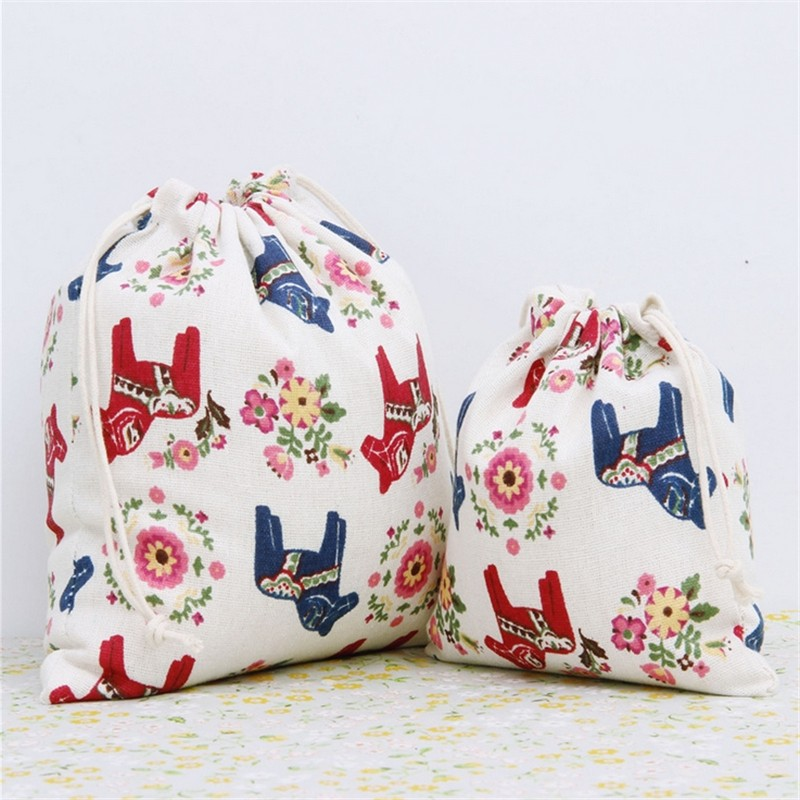 2pcs/lot Home Storage Pouches Drawstring Bag Decorative Christmas Wedding Gift Toy Bags Packing Supplies Colorful Horse Pattern(China (Mainland))