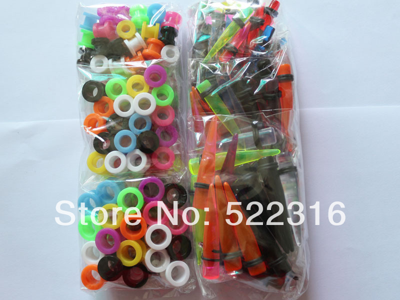 free shipping body piercing jewelry uv acrylic screw fit ear plug tunnel and translucence color straight ear taper(China (Mainland))