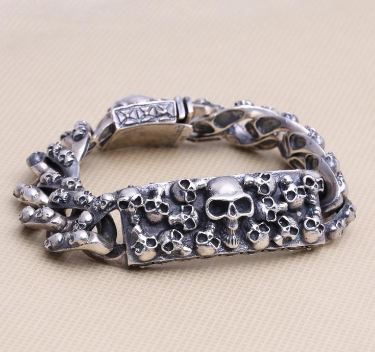 Здесь можно купить  S925 Vintage Pure Thai Silver Skull Bracelet / Sterling S925 Silver Wholesale Bracelet For Men - Length 25cm  Ювелирные изделия и часы