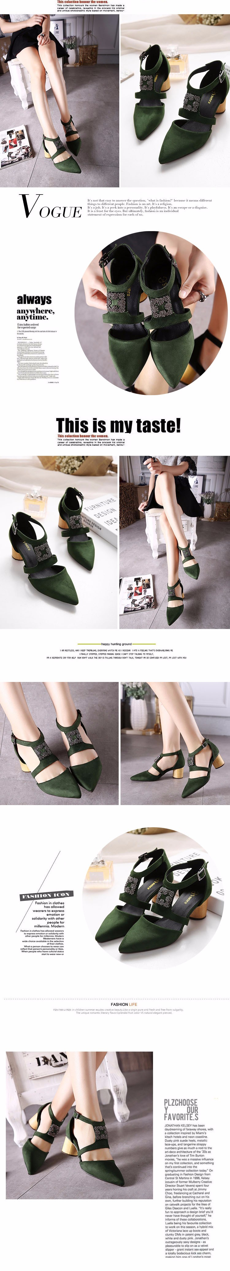 2016 New Chaussure Femme Zapatos Mujer Shoes Woman Pumps Square Heels Ladies Shoes Spring Summer Buckle Rhinestone Shoes ZX3.0