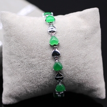 Classic  Jewelry 18K White Gold Plated Heart Emerald Malaysian Jade Bracelet Bangle For Women(China (Mainland))