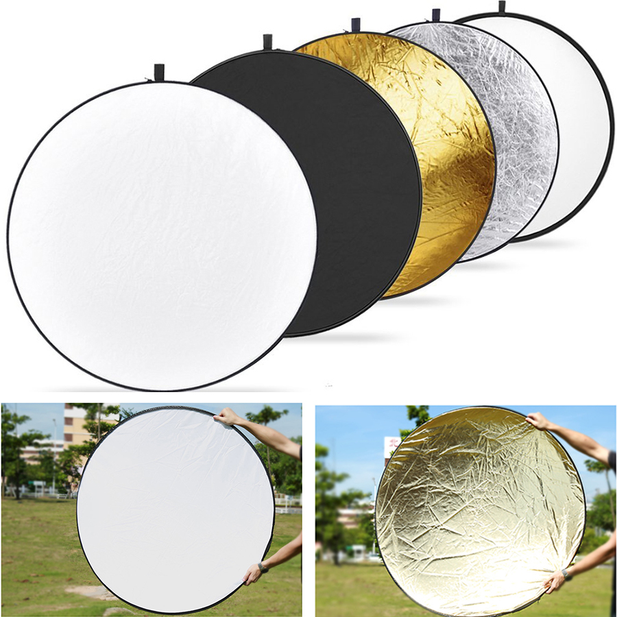 43'' inch / 110cm 5-in-1 Portable Foldable Round Studio Photo Collapsible Multi-Disc Light Photographic Lighting Reflector(China (Mainland))