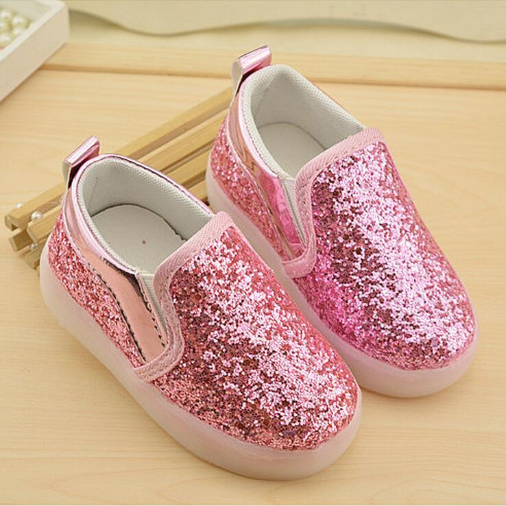 2016 hot new pink glitter child sport shoes, kids light up shoes, sneakers kids, children shoes with light, chaussure led enfant(China (Mainland))