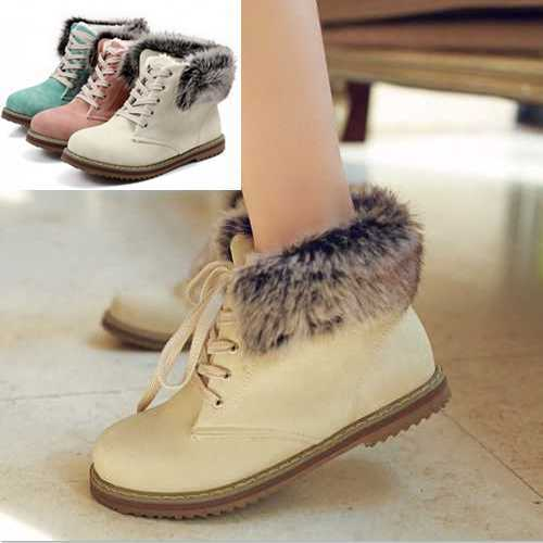 Fashion Size Big 34-43 Ankle Boots Warm Short Fur Shoes Brand Design Winter Lace Up Round toe Platform Snow Boots for Women(China (Mainland))