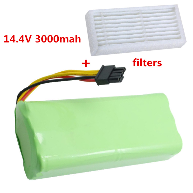 14.4V 3000mAh vacuum Cleaner Battery High quality Battery for Ecovacs Dibea X600 ZN605 ZN606 ZN609 + Filters(China (Mainland))