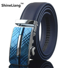 Buy Men Belt Automatic buckle Leather width 3.5CM Length 110/120 / 130CM Designer high Fashion brand black blue strap male for $9.50 in AliExpress store