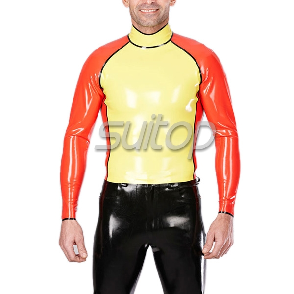 Фотография latex two colors tops rubber garment suit for boys