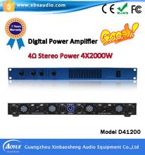 High quality 4 channels 1u power amplifiers digital echo karaoke amplifier 4*2000W D41200(China (Mainland))