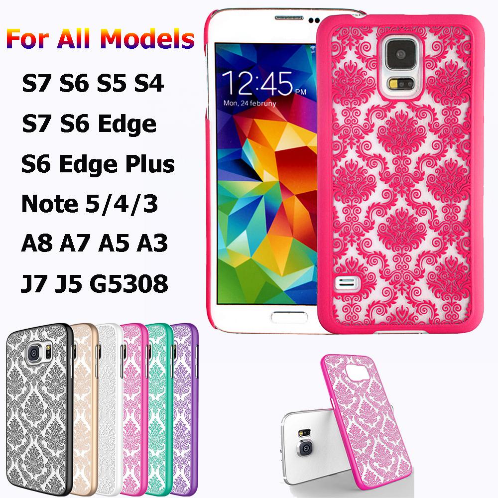 Vintage Flower Pattern frosted Hard Plastic Phone Case For Samsung S7 S6 edge Plus,S5/4/3,A8/7/5/3,J7/5,E7/5,G530,A710,A510(China (Mainland))