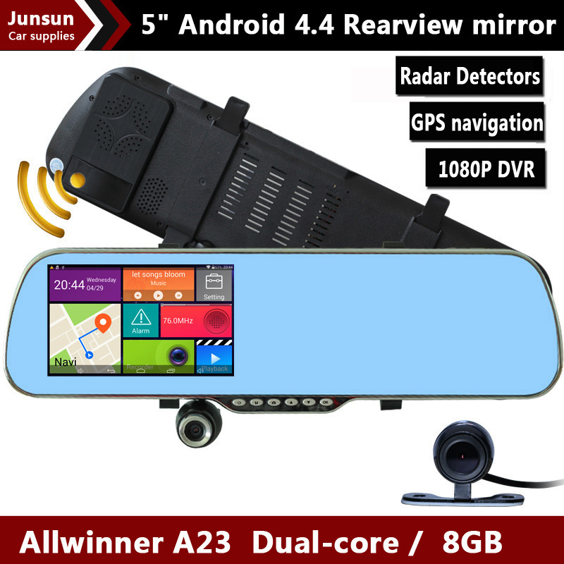 "New 5.0"" Touch Android 4.4.2 Radar Detectors FHD 1080P dash camera parking car dvrs Rearview mirror video recorder Car DVR GPS(China (Mainland))"