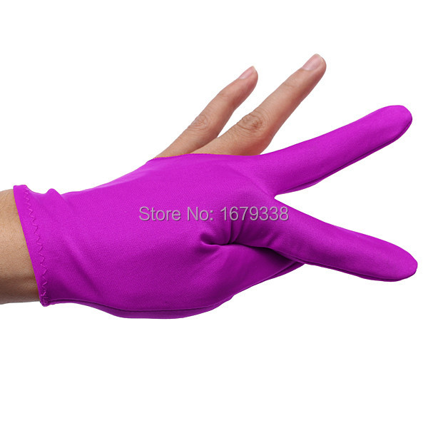 New 10pcs/lot Nylon Violet Billiards Snooker Cue Shooters Billiard Table Three Finger Left Or Right Hand Gloves(China (Mainland))