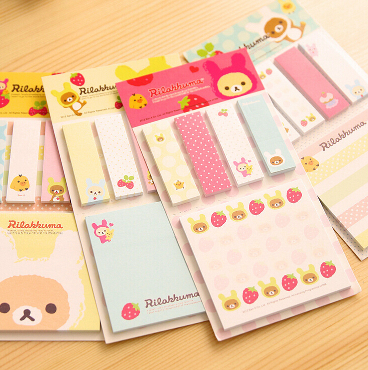 2X Kawaii Cute Rilakkuma Message Leave Sticky Notes Stickers Notebook Stationery Diary Papelaria Planner Memo Pad Student Gift<br><br>Aliexpress
