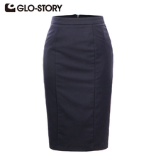 GLO-STORY Women Skirt 2016 New Arrive Breathable Summer Skirts 3Color Elegant Pencil Skirts Plus Size Office Skirt