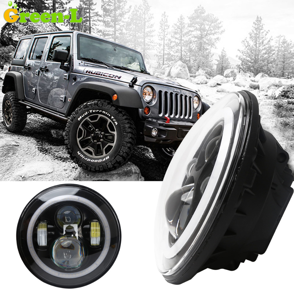 PAIR Angel Eyes 7'' 90W LED Headlight H4 Hi-lo Beam Front Driving Headlamp Off road Driving Fog Light For Jeep Wrangler(China (Mainland))