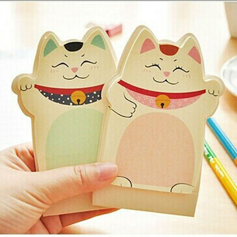 2PC Korean Kawii Cute Lucky Cat Sticky Notes And Memo Pads Paper,3D Desktop Post It Notes N Times Stickers(China (Mainland))