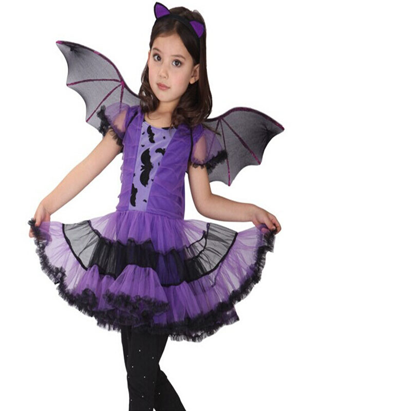 Children Girl Halloween Costume Bat Model Wings+Headwear+Lace Ball Gown Ruffles Dress Stage Wear Clothes Set Outfit - Fashion shopping Life store