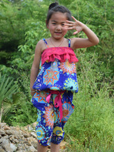 Hot Children Summer Clothing Sets Baby Girls Spaghetti Strap leopard Tops + Casual Harem Pants For 2-10Y Kids Bohemia Beach Suit(China (Mainland))
