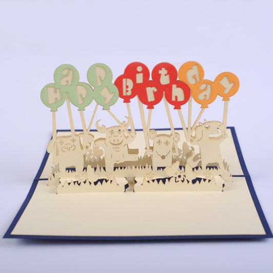 (5P/Lot) birthday balloon creative design 2015 New Hand made craft post card 3D Greeting Cards with envolope 110*150mm gift(China (Mainland))