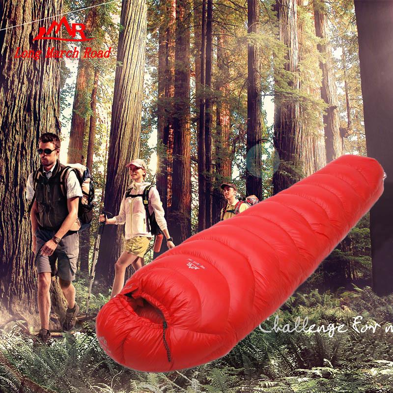 Filling 2500G outdoor camping sleeping bag duck down splicing mummy ultra-light sleeping bag