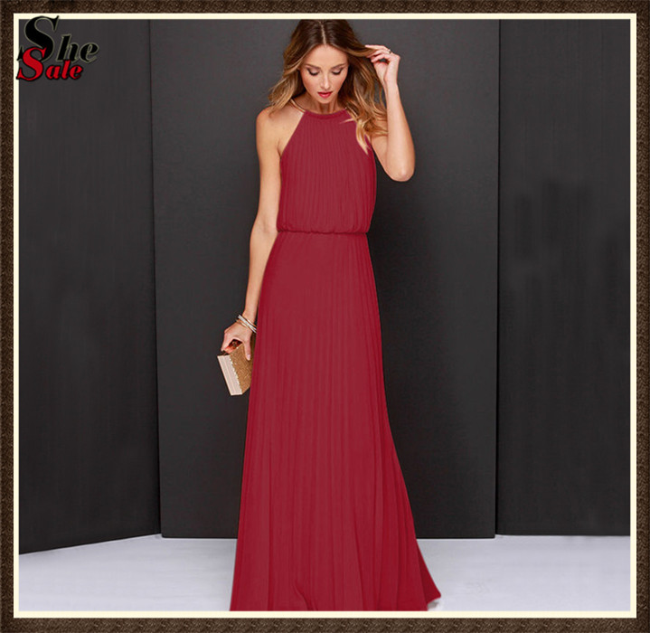 Long Tunic Halter Evening Dresses Fashion Female Clothes Women Vestidos Wine Red Sleeveless Pleated Elegant Maxi Dress(China (Mainland))