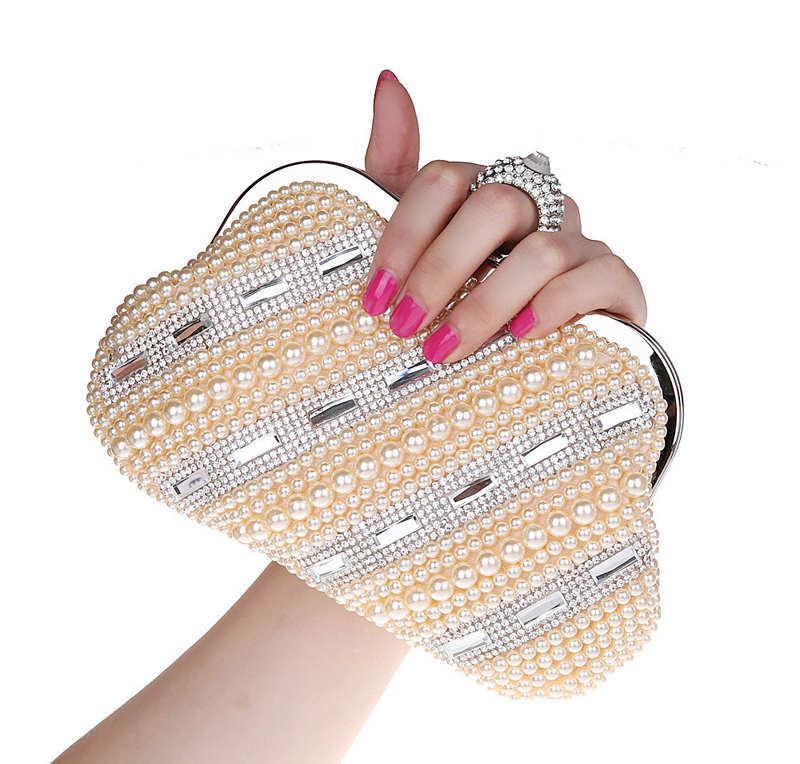 luxury diamond with pearl design rings evening bags gentel women handbags bride bag mini phone messenger bag free shipping <br><br>Aliexpress