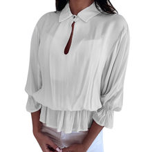 robe femme Women's Pleated Solid 3/4 Sleeve Ruffled Elastic Band Button-Open Collar Top Blouse women's chiffon blouse(China)