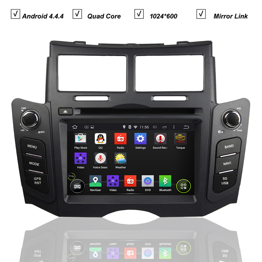 Car DVD Android 5.1 System for Toyota Yaris Sport 2005-2011 Radio RDS Bluetooth Mirror Link Ipod 3G WIFI QuadCore 1G RAM 16G RAM(Hong Kong)