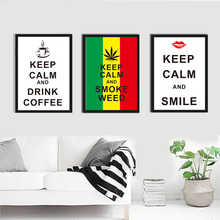 Nordic Keep Clam Smile Coffee Canvas Painting A4 No Framed Art Print Poster Animal oil Painting Wall Picture For Living Room(China (Mainland))