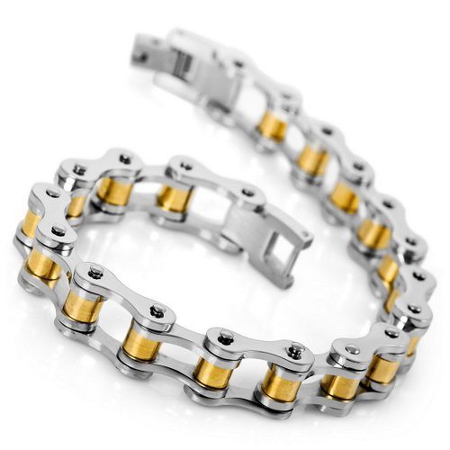 Men's Stainless Steel Bracelet Link Wrist Silver Gold Polished, whole sale lots free shipping 100 pieces(China (Mainland))